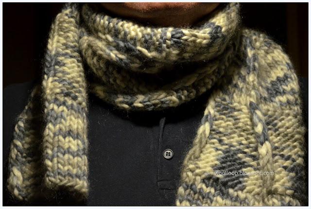 gruby męski szalik na drutach