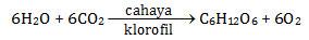Reaksi fotosintesis, 6CO2 + 6H2O → C6H12O6 + 6O2
