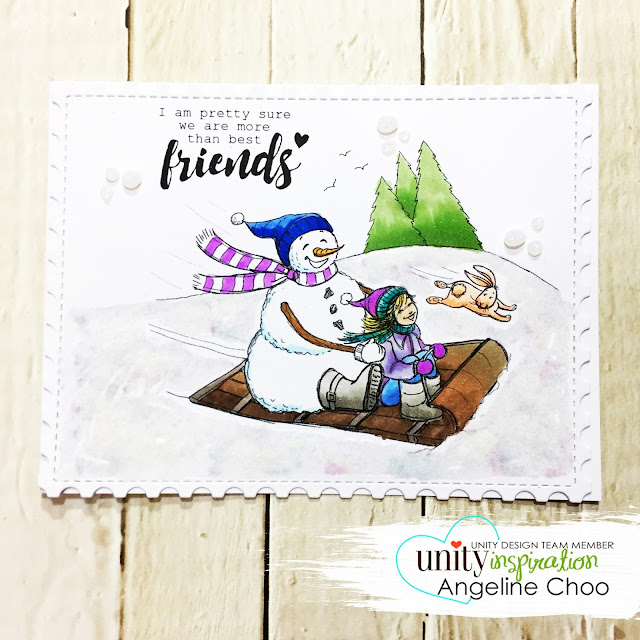 ScrappyScrappy: [NEW VIDEO] DT Blog Hop with Unity Stamp #scrappyscrappy #unitystampco #phyllisharris #card #cardmaking #stamp #stamping #katscrappiness #winter #christmas #snowman #flockingpowder #snow #friendship #copic #papercraft #youtube #quicktipvideo #processvideo