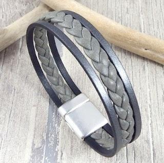 Kit bracelet cuir homme tresse gris