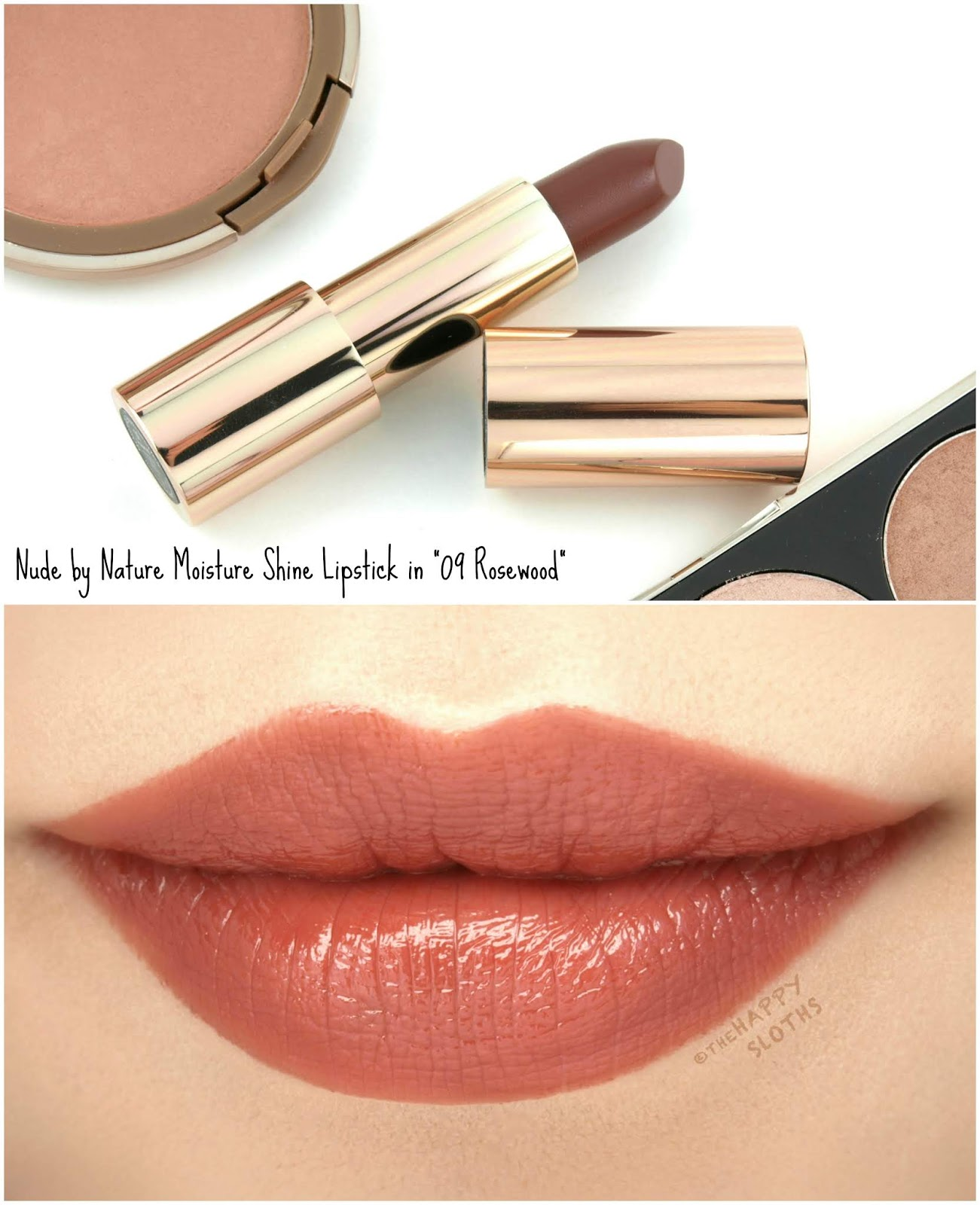 "Nude by Nature | Moisture Shine Lipstick in ""09 Rosewood"": Review and Swatches"
