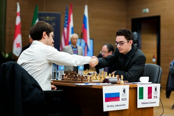 Échecs : Fabiano Caruana (2803) 0-1 Dmitry Jakovenko (2738) - Photo © Kirill Merkurev