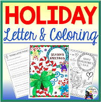 holiday letters and coloring sheets