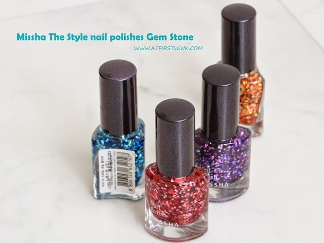 Rainbow ombre glitter nails with the Missha the style nail polishes Gem Stone