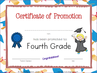 Certificate of Promotion to 4th Grade