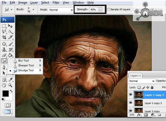 gunakan smudge tool dengan strenght 40 persen - tutorial cara membuat efek smudge painting di photoshop