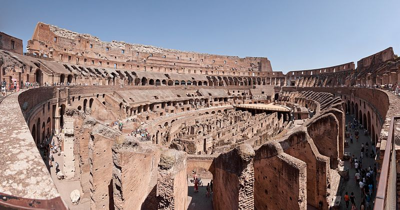 Colosseum elliptical amphitheatre in the centre of Rome | Italy | Physical description