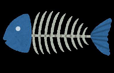 骨だけになった魚のイラスト