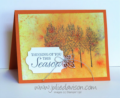 Stampin' Up! Winter Woods Brusho Card ~ Autumn ~ 2018 Holiday Catalog ~ October 2018 Control Freaks Blog Tour ~ www.juliedavison.com
