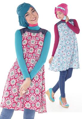 Fashion batik remaja casual hijab celana panjang