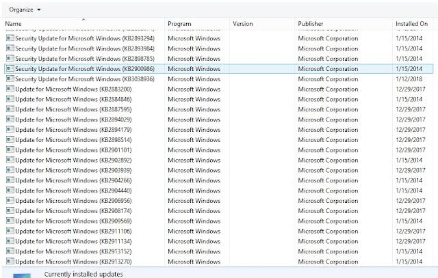Microsoft Updates to fix .net Framework error