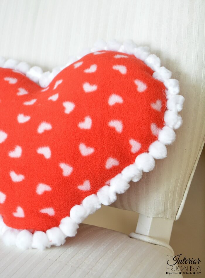 Fleece Remnant Heart Pillow