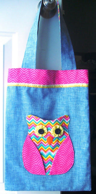 Tote bag with Owl pocket designed for an Operation Christmas Child shoebox.