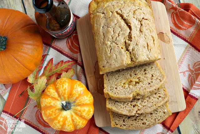 This savory Spiced Pumpkin Ale Bread has just a touch of sweetness & a spiced flavor that is reminiscent of pumpkin pie.
