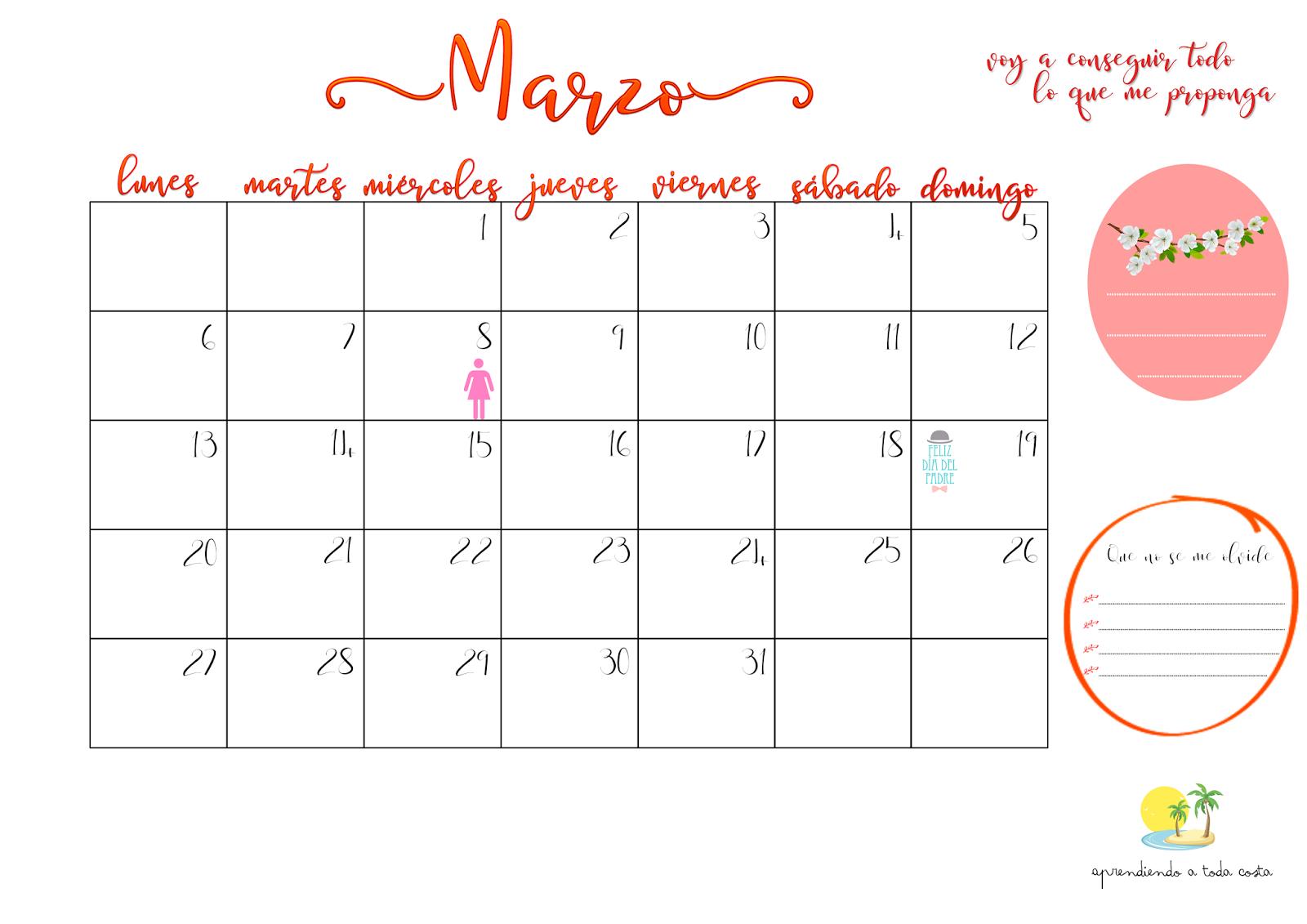 Calendario de marzo