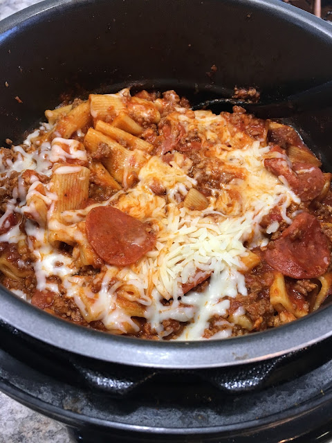 Chasing Saturdays,  easy, one pot Pepperoni Pizza Rigatoni made in the Instant Pot was a win for the family!