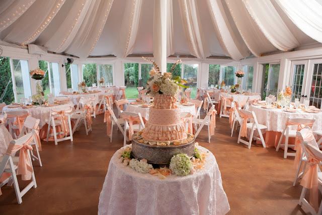 peach+orange+salmon+pink+pastel+shabby+chic+summer+spring+tea+garden+party+victorian+rebel+with+a+camera+wedding+bride+groom+centerpeice+cake+ruffle+ruffles+8 - Detail Spotlight: Peach & Gold