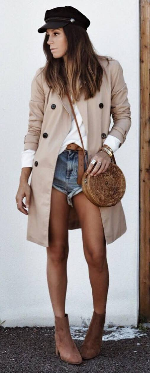 what to wear with a hat : nude coat + top + bag + denim shorts + boots