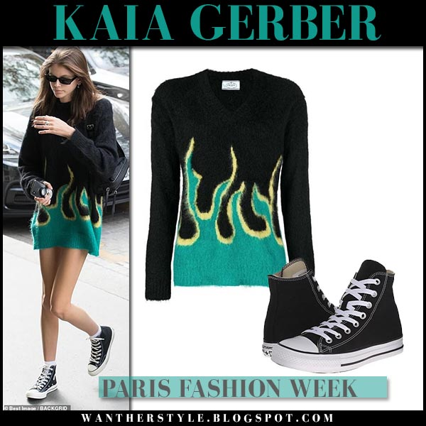 Kaia Gerber in black knit flame sweater prada model street style september 28