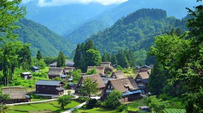 Gambar Pemandangan Alam di Desa Jepang Gokayama Keindahan Alami