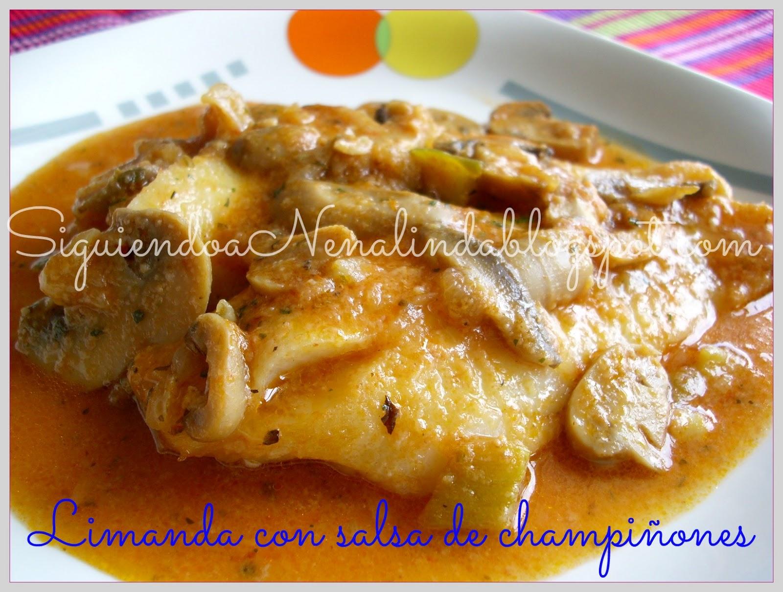Siguiendo a nenalinda limanda en salsa de champi ones - Pescado al microondas facil ...