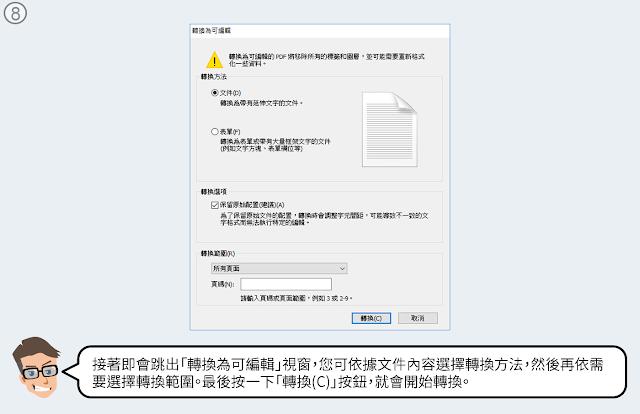 依據文件內容選擇轉換方法後再按一下轉換按鈕。
