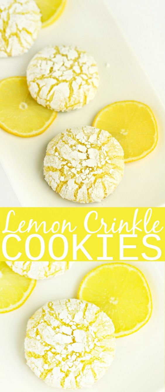 LEMON CRINKLE COOKIES #lemon #crinkle #crinklecookies #cookies #cookierecipes #easycookierecipes