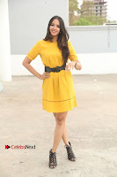 Actress Poojitha Stills in Yellow Short Dress at Darshakudu Movie Teaser Launch .COM 0017.JPG