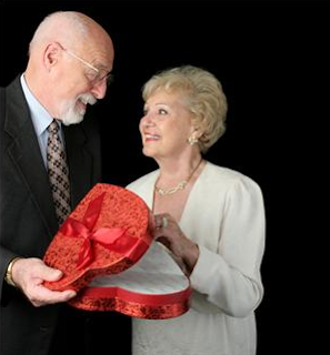 Elderly couple on Valentine's Day