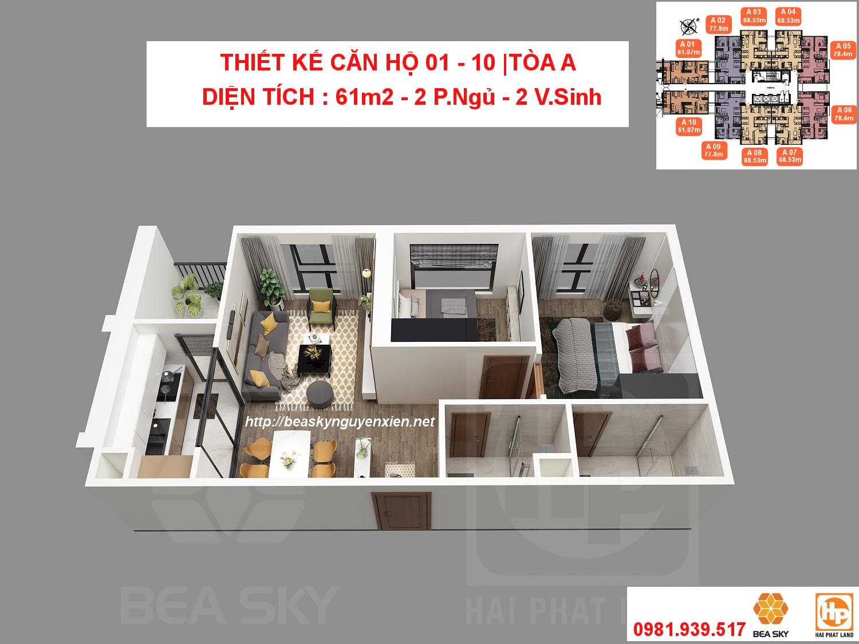 Thiết kế căn hộ 01 - 10 chung cư Bea Sky tòa A | D.tích: 61m2