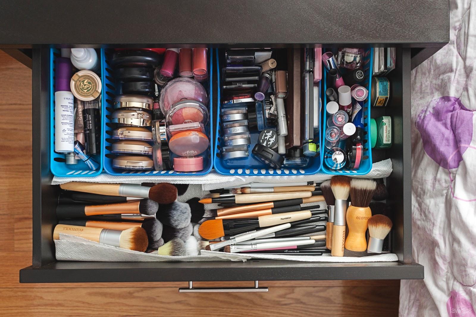 Makeup storage in bedside table drawer