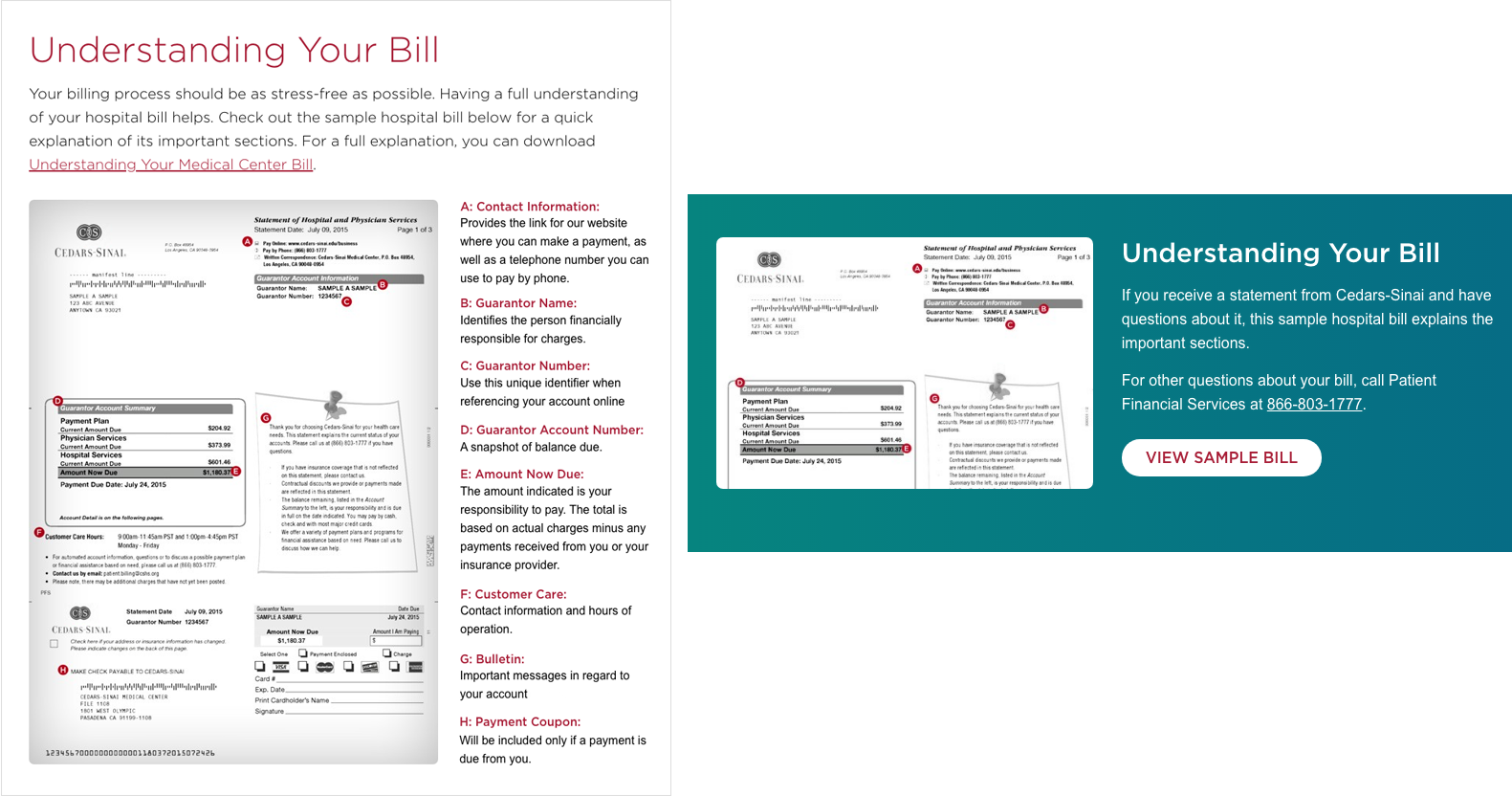 Cedars Sinai uses a sample bill as an infographic to help patients interpret the charges for their medical care
