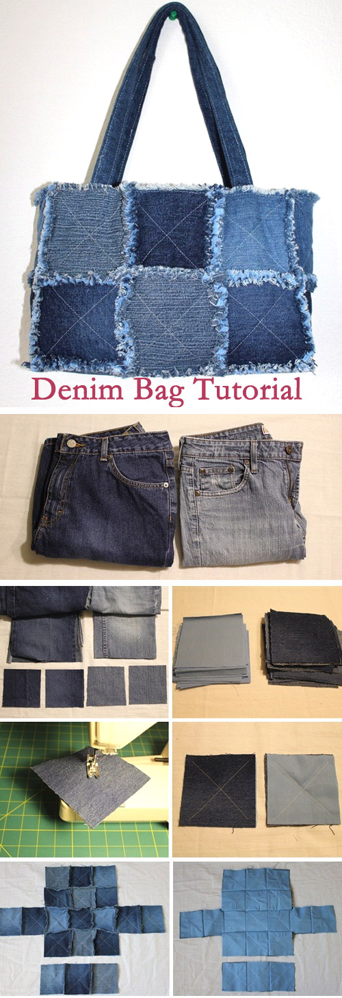 Bag of old jeans tutorial. ~ DIY Tutorial Ideas!