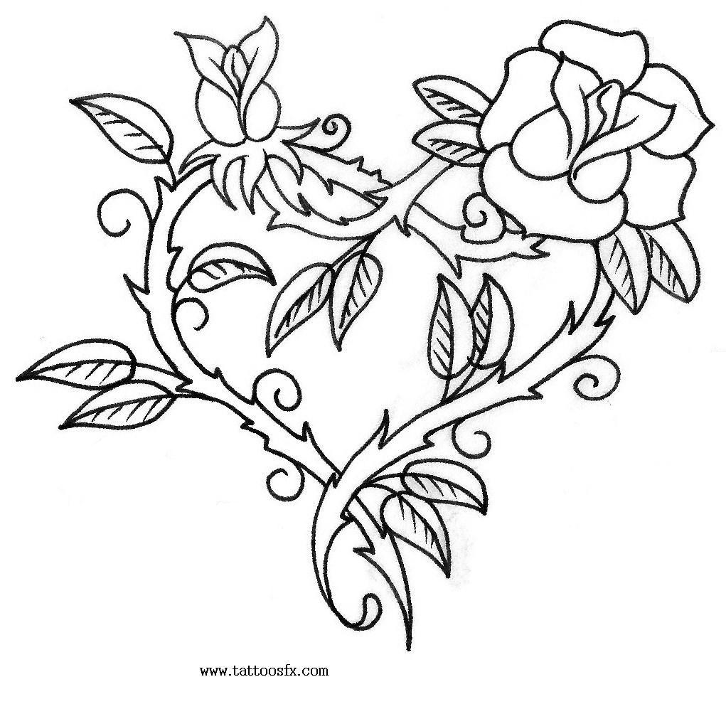 Heart And Rose Love Drawings Tattoo Picturem...