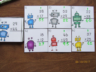 Robot 2 Digit Addition Regrouping Task Cards
