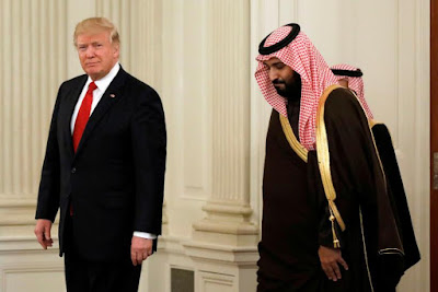 Donald Trump, left, and the Saudi Crown Prince