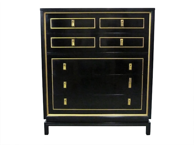 Hollywood Regency, Black Lacquered & Gilt High-Boy Dresser by American of Martinsville, vintage