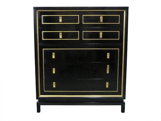 Hollywood Regency, Black Lacquered & Gilt High-Boy Dresser by American of Martinsville, vintage