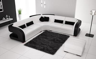 แบบห้องรับแขกสีขาว ดำจัดที่นั่งสวย