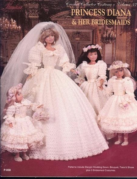 Barbie com vestido noiva de crochê da lady Diana receita crochet colllector 47