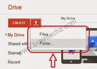 uploading file or folder to google drive