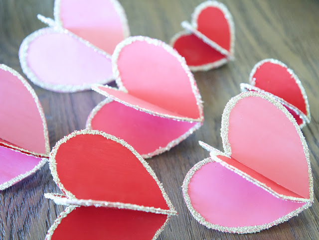 "DIY: ""Hearts-and-Crafts"" for Valentine's Day; pink and red 3-D hearts; Nora's Nest"