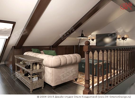 A Design Of The Small Living Room In The Attic Of A Country House Style Is  Close To The Respectable British Classics. Chesterfield Sofa, Beige Carpet  And ...