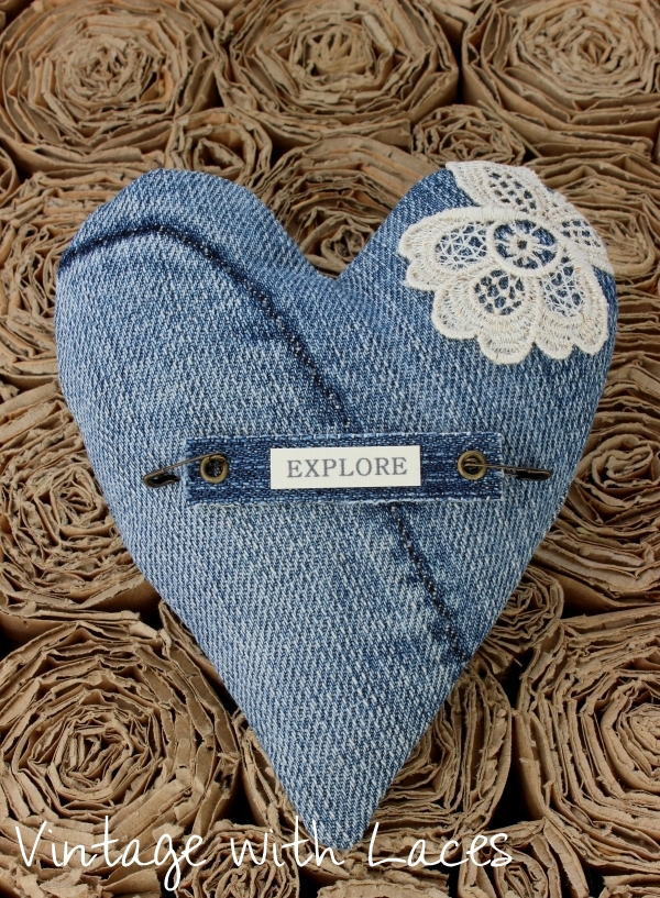 Upcycled Denim Heart by Vintage with Laces