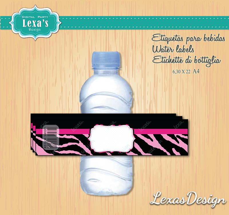 Etiquetas Jugo, Agua gratis Animal Print