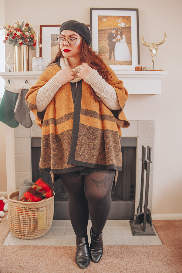 brown shawl, black beret, cowl neck sweater, winter outfit