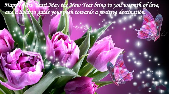 Happy New Year wish through flower
