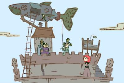Nelly sube a una torre con tres mujeres y un vehículo extraño.