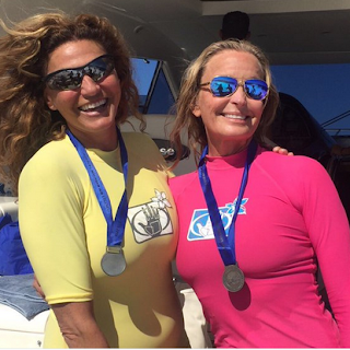 Actress, activist, and marathon swimmer Bo Derek (right)
