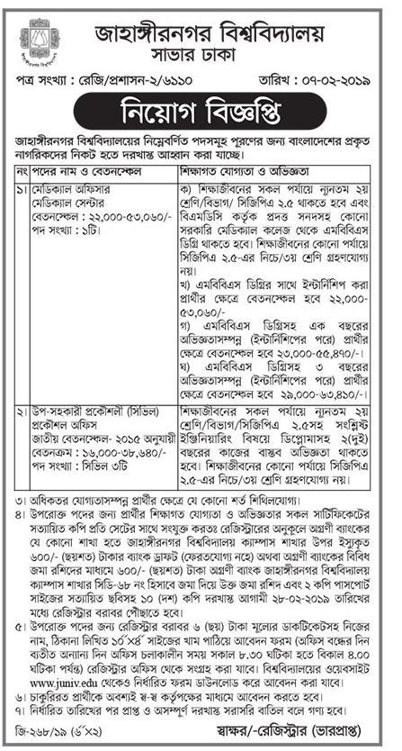 Jahangirnagar University (JU) Job Circular 2019
